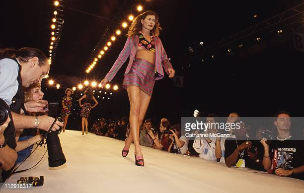 Carre Otis walks the runway at a Todd Oldham fashion show in the mid 1990s in New York City New York