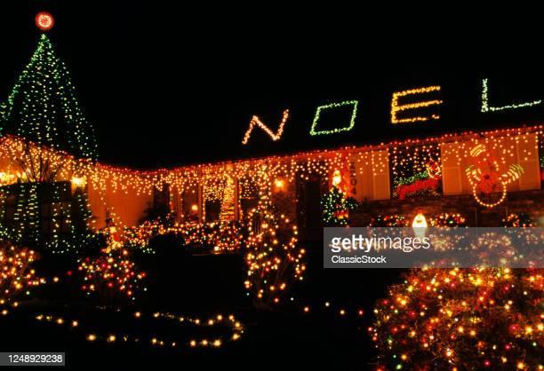 1990s Christmas Lights On House Washington State USA