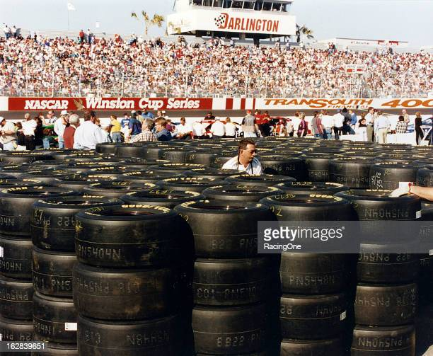 Goodyear Eagle racing tires are stacked and ready for use prior to the running of the TranSouth Financial 400 NASCAR Cup race at Darlington Raceway