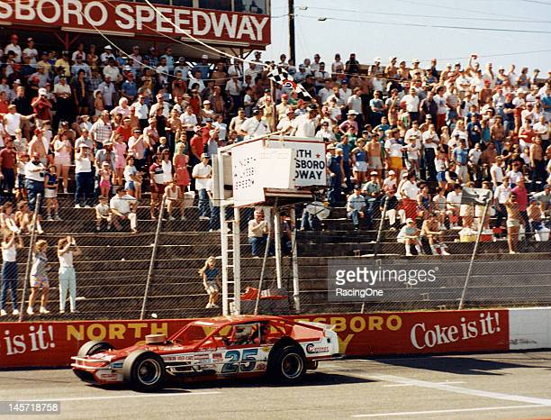Jan Leaty takes the checkered flag to win a NASCAR Modified event at North Wilkesboro Speedway