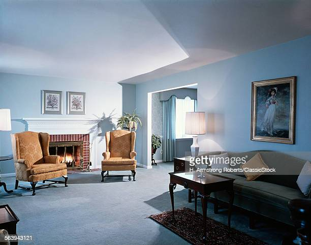 1990s LIVING ROOM BLUE...