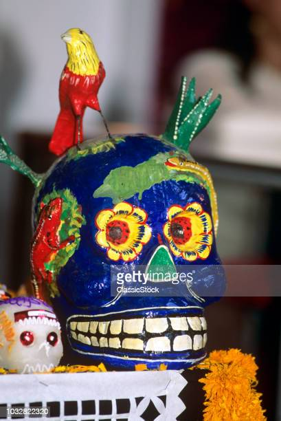 1990s MEXICO BRIGHTLY PAINTED SKULL DECORATIONS FOR DAY OF THE DEAD