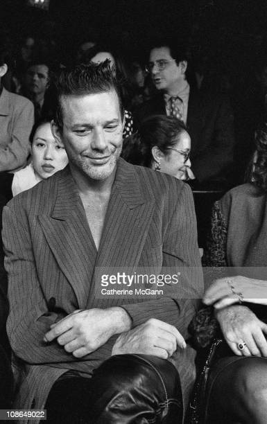 Mickey Rourke at Oscar De La Renta Fashion Show in the mid 1990s in New York City New York