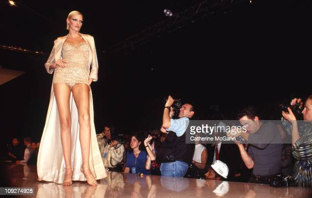 Nadja Auermann walks the runway at a fashion show in the mid 1990s in New York City New York