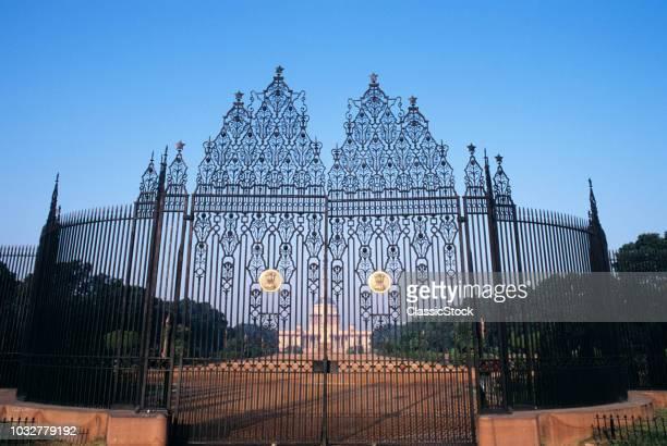 1990s ORNATE GATE ENTRANCE RASTRAPATI BHAVAN PRESIDENTIAL RESIDENCE DELHI INDIA