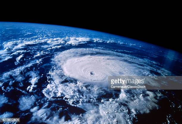 1990s SATELLITE AERIAL VIEW OF A HURRICANE