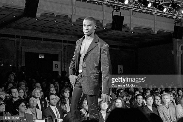 Tyson Beckford walks the runway at a fashion show in the mid 1990s in New York City New York