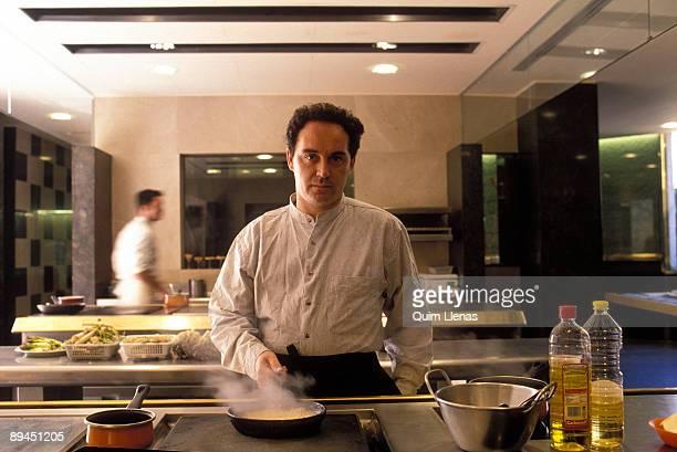 Girona Catalonia Spain Ferran Adrià in the kitchen of his restaurant El Bulli in Cala Montjoi