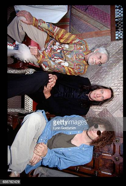 1995Los Angeles CA Psychologist Timothy Leary rock musician Todd Rundgren and pop musician/producer Don Was are shown seated on chairs