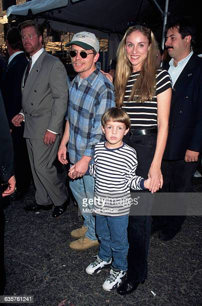1995New York New York Picture shows actor Michael J Fox holding hands with his wife Tracy Pollan and his son Sam at the Kids for Kids benefit