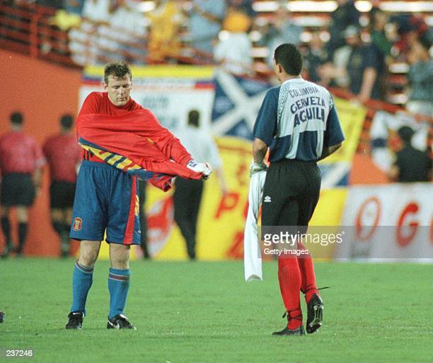 Andy Goram of Scotland and Farid Mondragon of Colombia make a jersey exchange following their friendly match at the Orange Bowl in Miami Colombia...