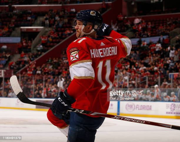 Jonathan Huberdeau of the Florida Panthers celebrates his goal during the second period against the Philadelphia Flyers at the BBT Center on November...
