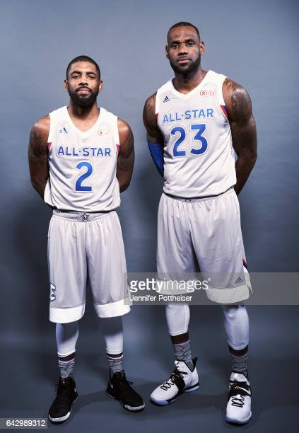 LeBron James and Kyrie Irving of the Eastern Conference AllStars poses for a portrait during the NBA AllStar Game as part of 2017 AllStar Weekend at...
