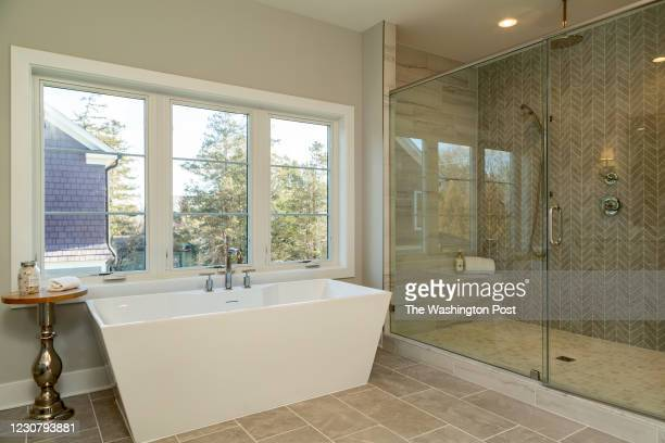 Soaker Tub and Shower in the Master Bath of the Model Home at Park Grove on January 19, 2021 in McLean Virginia.