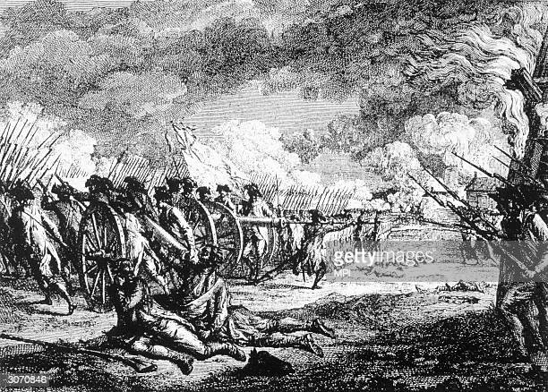 Battle of Lexington, Massachusetts which marked the beginning of the War of Independence when minutemen attacked the British who had come to seize...