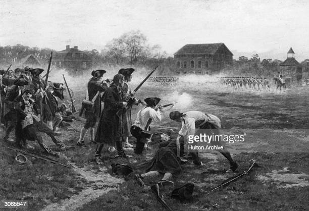 The Battle of Lexington, which marked the beginning of the American War of Independence. Original Artwork: After William Barnes Wollen