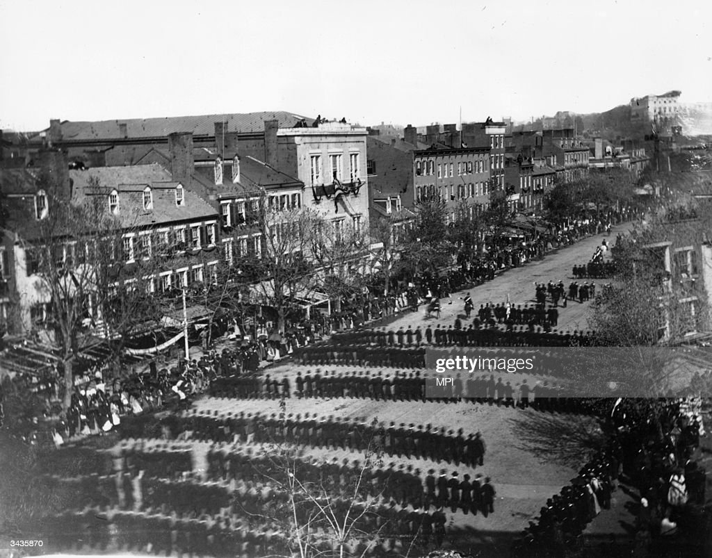Part of the procession accompanying the body of assassinated President, Abraham Lincoln, from the White House to the Capitol Building in Washington DC.