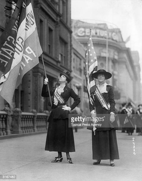 American suffragettes Mrs Phil Lydig and Mrs John C Blair marching in the 'Wake Up America' parade in New York