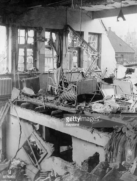 A bombdamaged dormitory in Berlin after a nighttime raid by the RAF