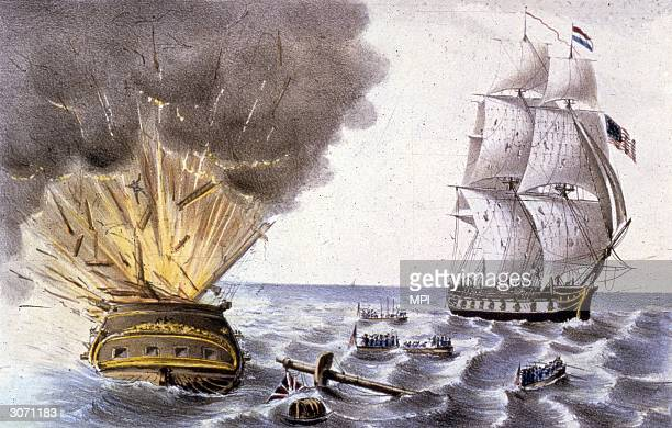 The 44gun American naval frigate 'Constitution' nicknamed 'Old Ironsides' and captained by Isaac Hull sinks the British warship 'HBMS Guerriere' off...