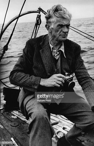 Picture Post photographer Kurt Hutton, visiting the site of the ship wreck, 'Flying Enterprise', which sunk 40 miles off Falmouth. Original...