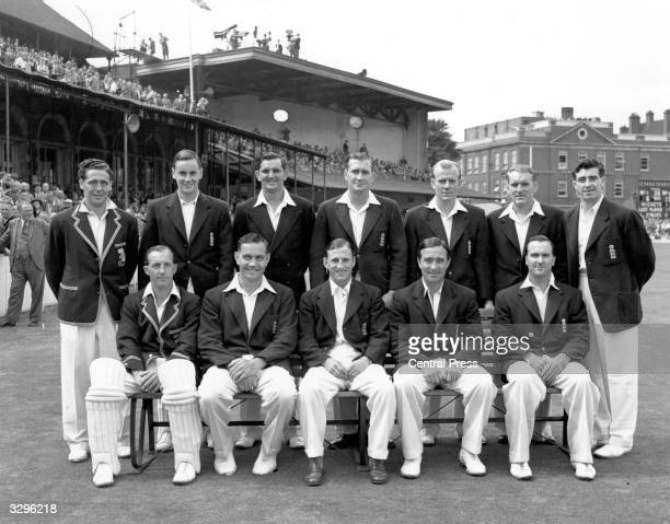 The England Cricket Team captained by Len Hutton in the group photograph prior to the test against Australia at the Oval includes Graveney Laker...