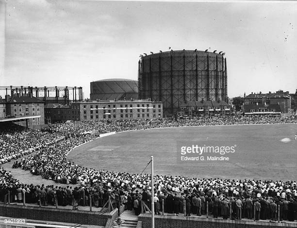 The Oval cricket ground in London scene of the final Test in 1953 when England won the Ashes The famous gasometer is in the background