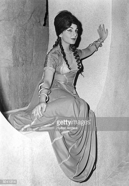 Canadian soprano and actor Teresa Stratas sits in her costume for her title role in the world premiere of Peggy GlanvilleHicks' opera 'Nausicaa' at...
