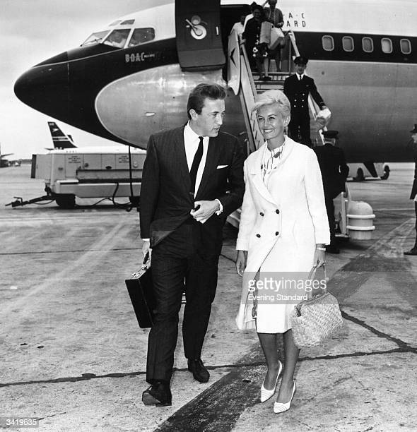 David Frost and Janette Scott arriving at London Airport
