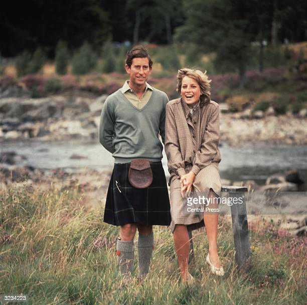Charles Prince of Wales and Diana Princess of Wales in the grounds of Balmoral Castle Scotland whilst on their honeymoon
