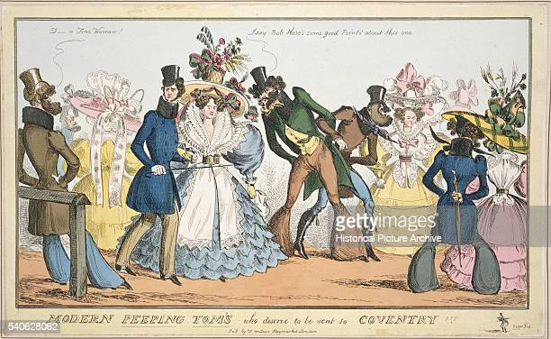 19th Century British Illustration Entitled Modern Peeping Toms Who Deserve to be Sent to Coventry