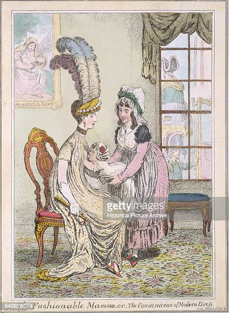 19th Century British Illustration Entitled The Fashionable Mama or the Convenience of Modern Dress