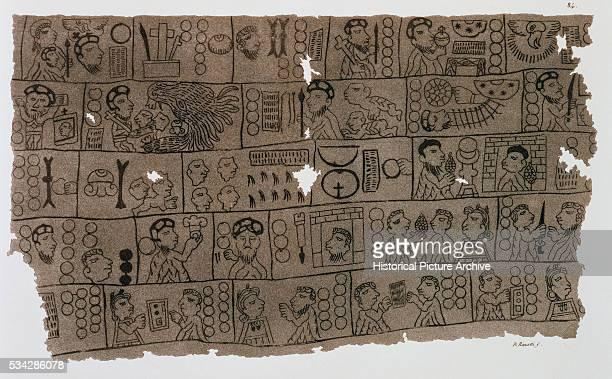 19th Century Christian Calendar in the Hieroglyphic Aztec Style
