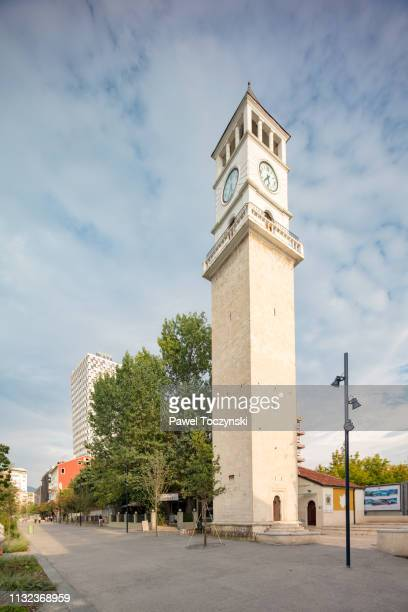 19th century clock tower of tirana from the ottoman times, albania, 2018 - socialism stock pictures, royalty-free photos & images