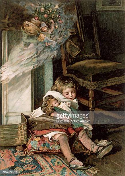 19th Century English Illustration Depicting a Child Asleep and Dreaming of Christmas Fairies