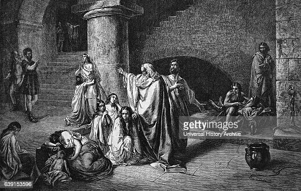 19th Century engraving of St Paul preaching Dated 19th Century