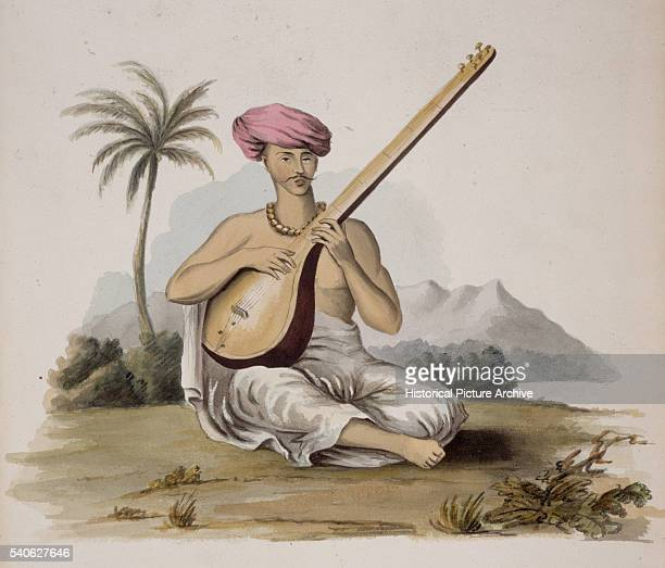 19th Century European Illustration of an Indian Man Playing a Sitar