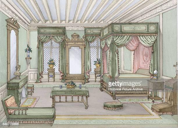 19th Century European Print Depicting Bedroom Design in Regency Style