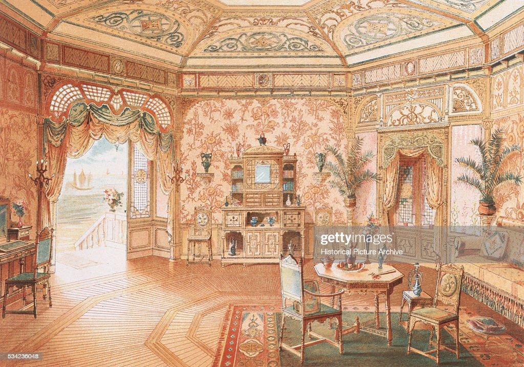 19th Century European Print Depicting Dining Room Design In Rococo Style Nachrichtenfoto
