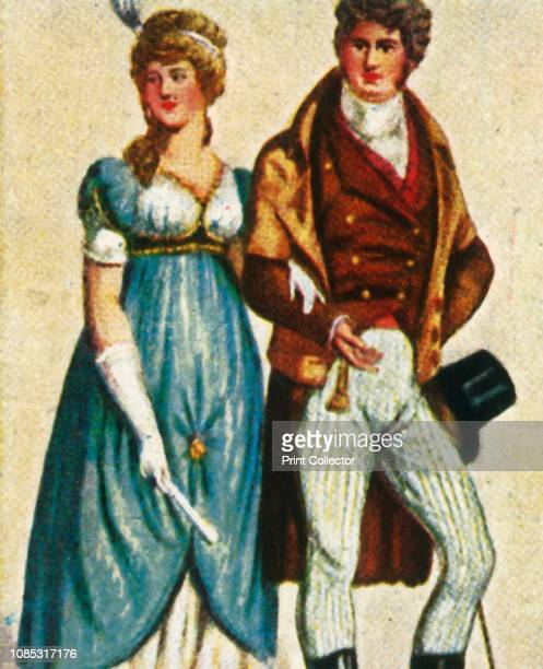 19th century fashion Berlin German couple wearing empire line dress and gloves frock coat and breeches From Die Welt in Bildern cigarette card album...