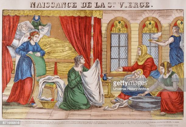 19th century French illustration showing the birth of Jesus Circa 1820