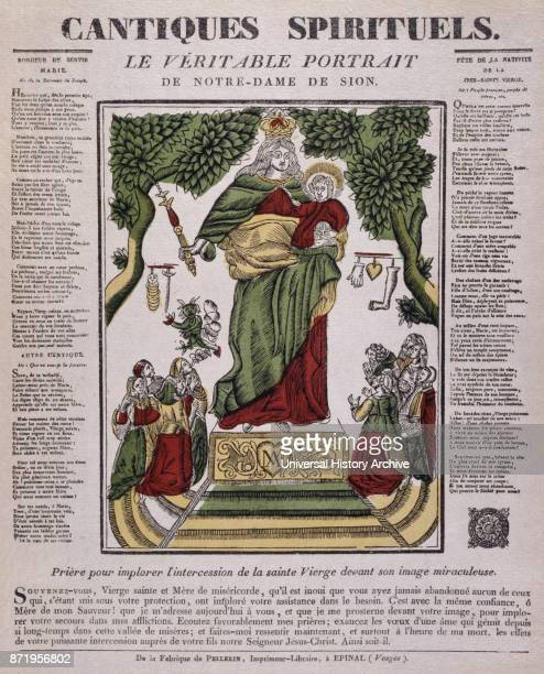 19th century French illustration showing the coronation of the Virgin Mary with Jesus Circa 1820