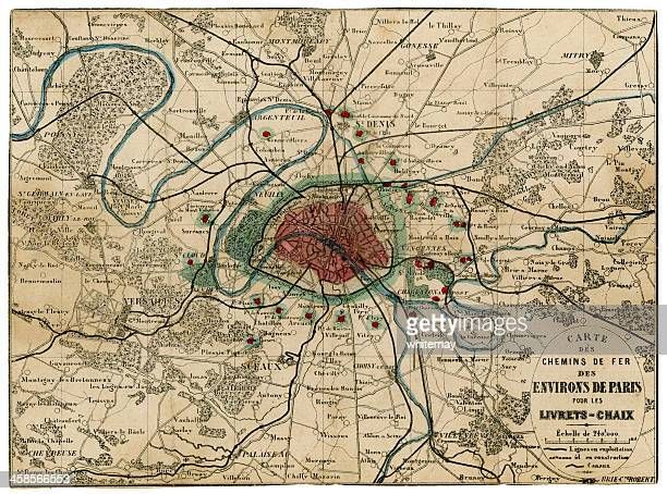 19th century french railway map for area around paris - saint denis paris stock pictures, royalty-free photos & images
