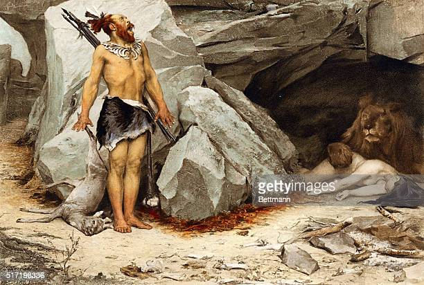 19th century illustration of a prehistoric man returning from a hunt to find a lion in his cave