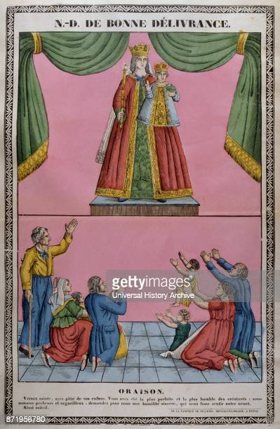 19th century illustration showing the coronation of the Virgin Mary with Jesus Circa 1820