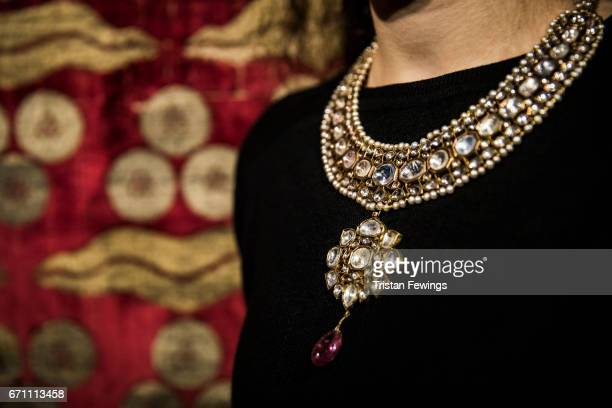 A 19th Century Indian gemset and enamelled gold necklace goes on view as part of Orientalist and Middle Eastern Week at Sotheby's on April 21 2017 in...