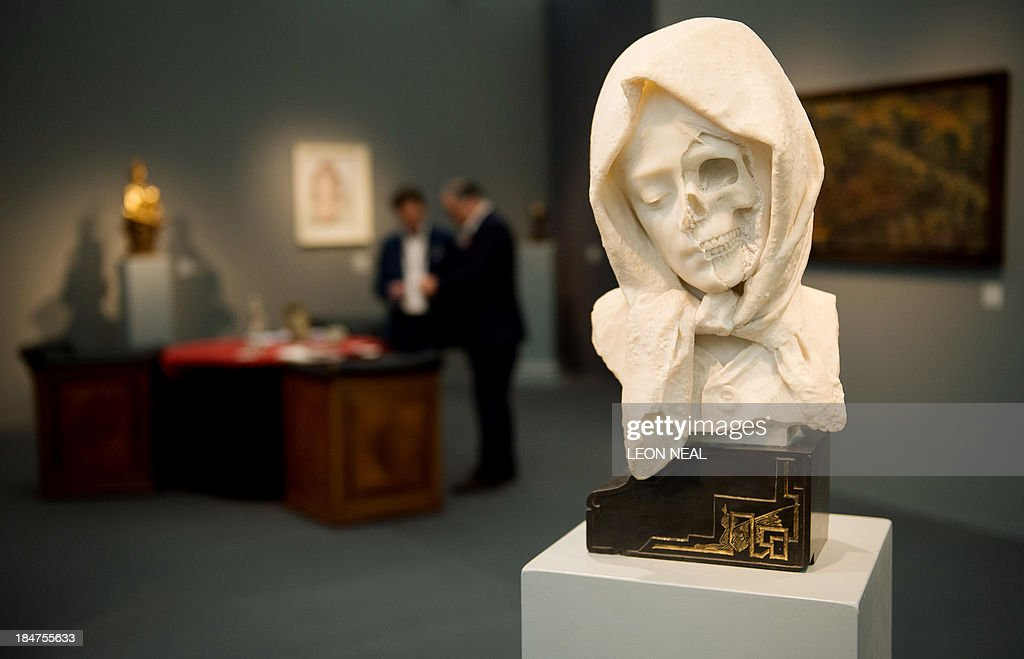 A 19th century Italian marble Vanitas is displayed at the Frieze Masters art fair in Regent's Park, north London, England, on October 16, 2013. Running from October 17-20, 2013, Frieze Masters will give a unique view of the relationship between old and new art.