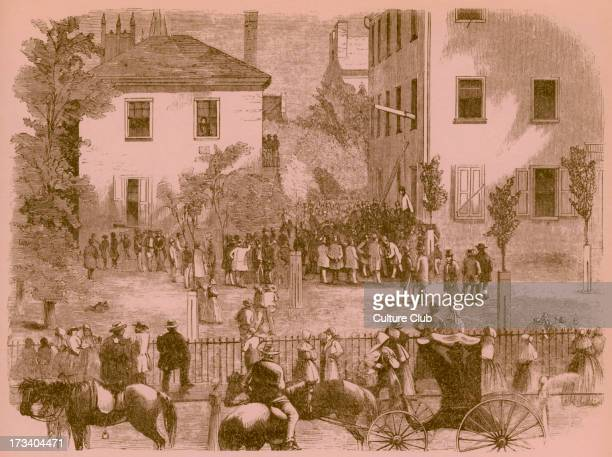 19th century lynching at a Kentucky courthouse Artist unknown 1860s