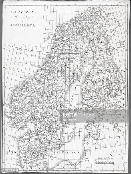 19th Century map of Sweden Norway and Denmark