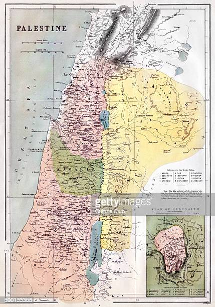 19th century map of the Holy Lands showing scriptural sites in historic Palestine and the lands of the twelve tribes of Israel
